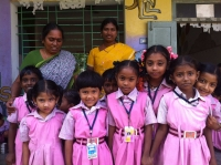 School girls at the Gateway School and their teachers