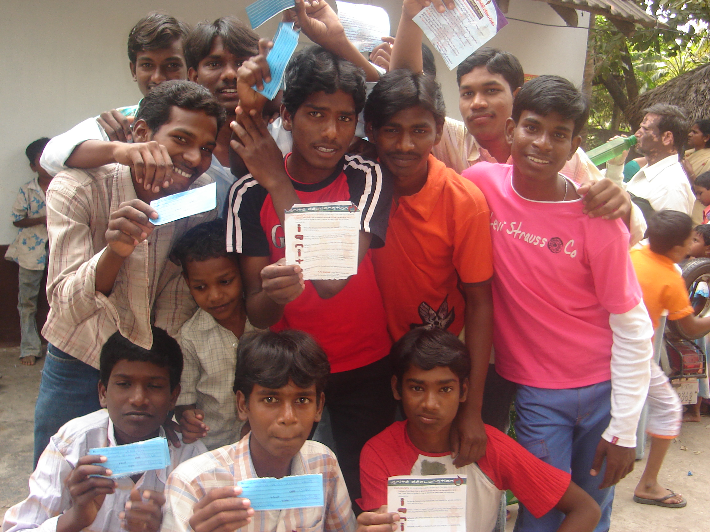 Young people with their Ignite cards